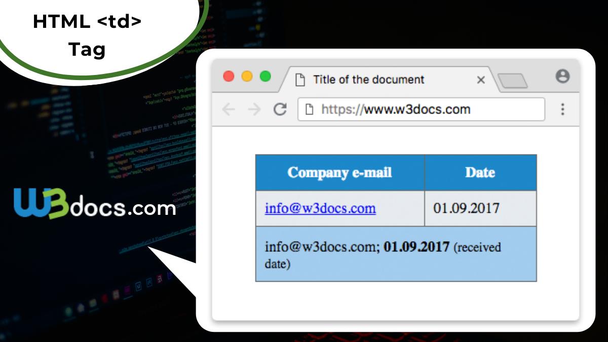 HTML <td> Tag Learn HTML   W20Docs
