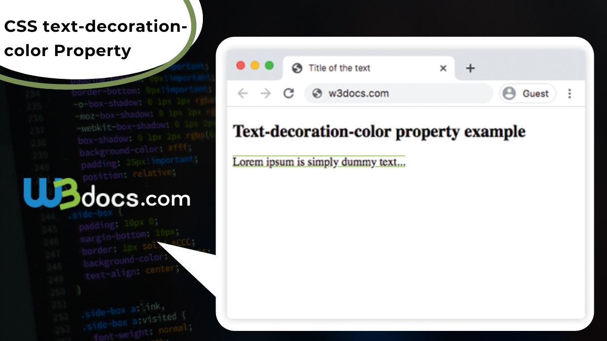 CSS text-decoration-color Property - Syntax, Values, Examples.