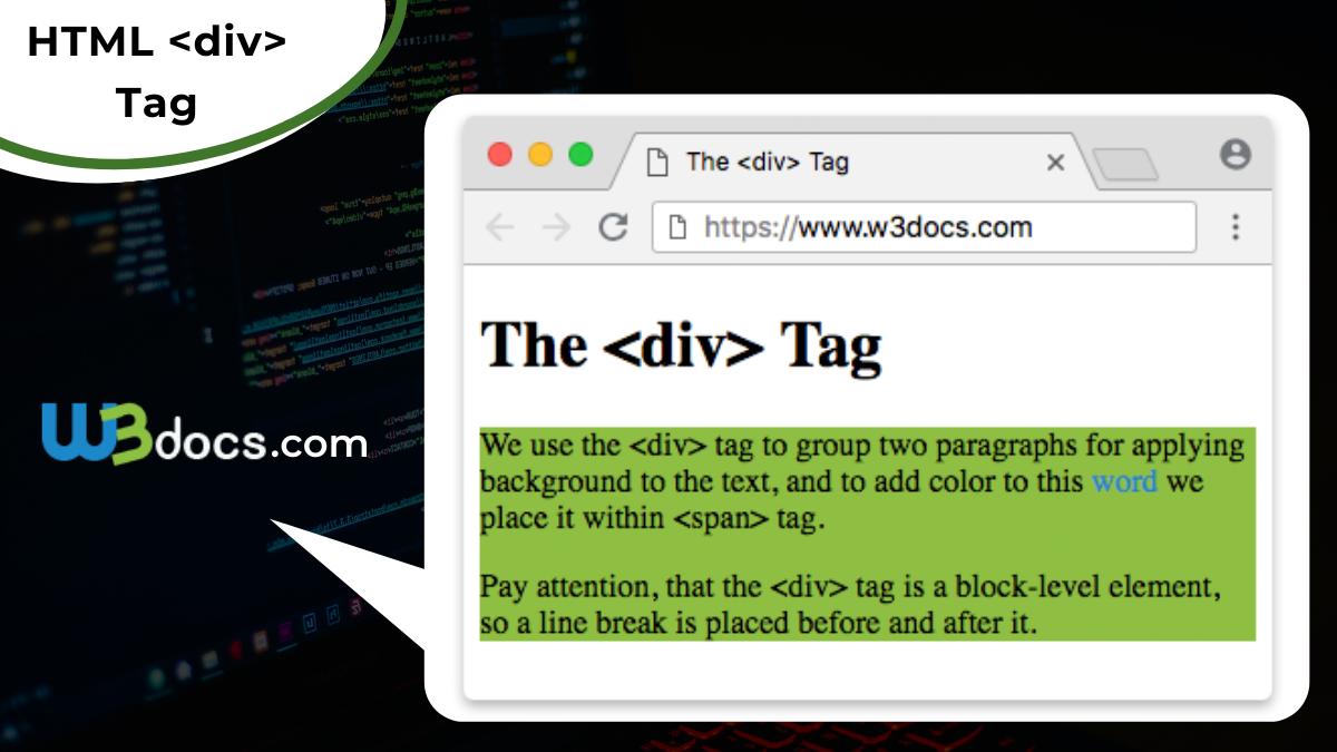 HTML div Tag   Usage, Attributes, Examples