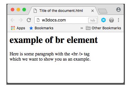 HTML <br> Tag -W3Docs
