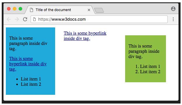 HTML <div> Tag - Usage, Attributes, Examples